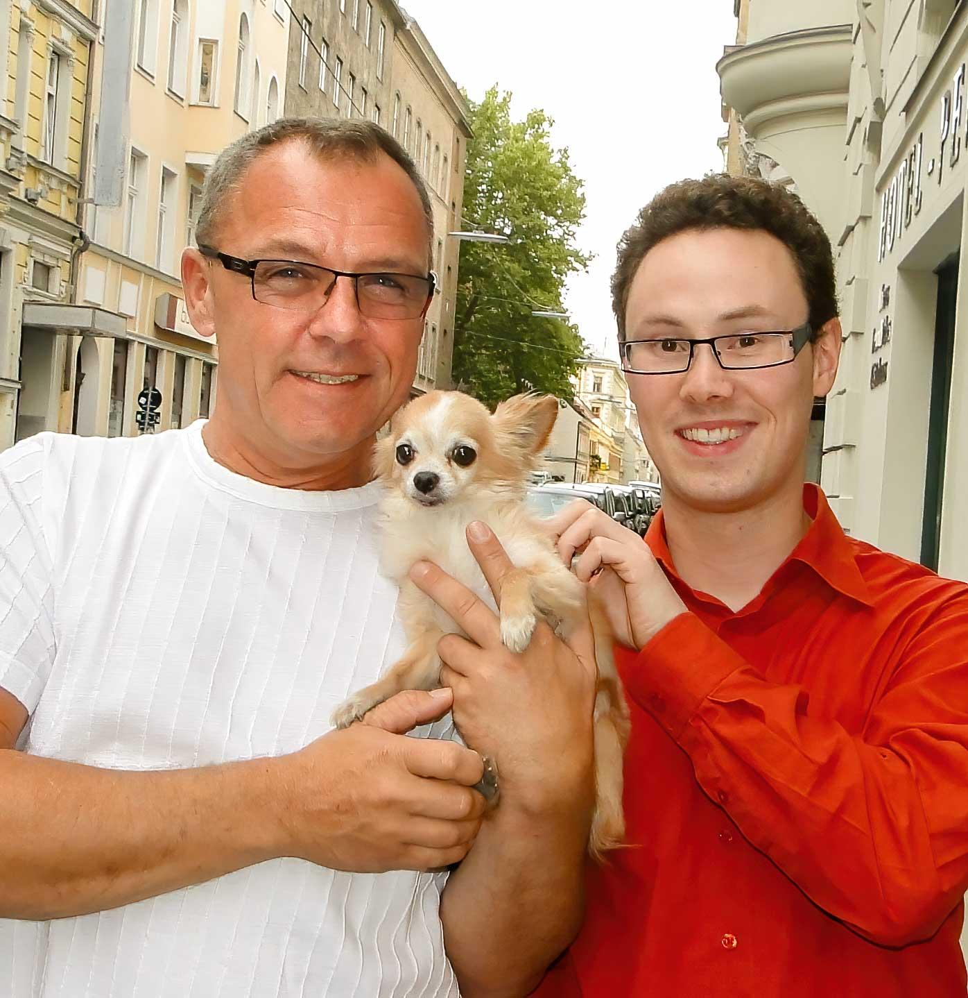Peter Wild, Christian Rendgen und Hündchen Nicky